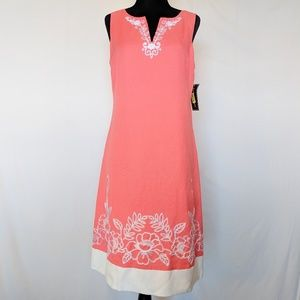 NWT Jessica Howard Linen Coral Embroidered Dress